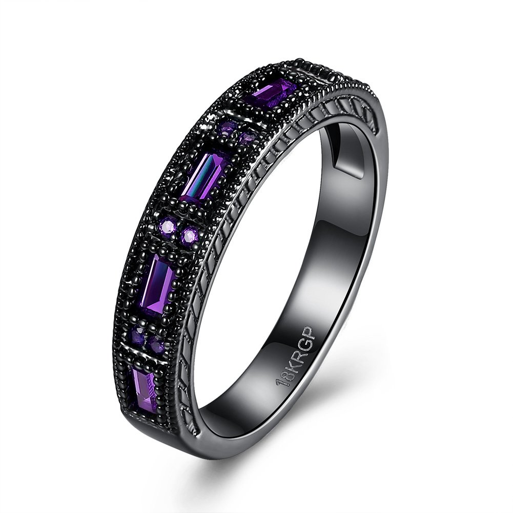 Eternity Love Wedding Bands Women's 18K Black Gold Plated Rings Princess Cut Blue/Green/Purple CZ Crystal Engagement Rings Best Promise Rings Anniversary Wedding Rings for Lady Girl Jewelry Store 0.01 JPR865-CA