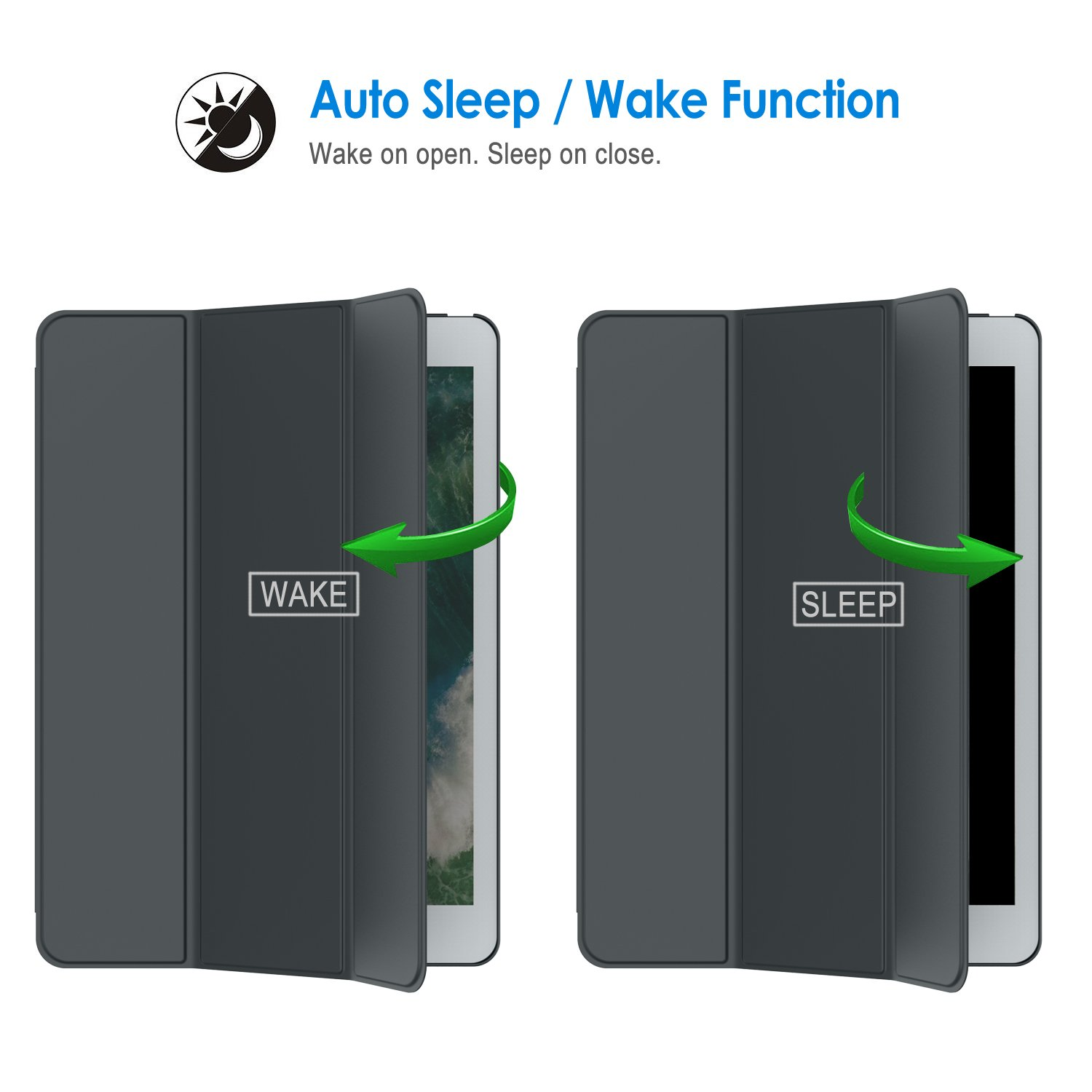 Dark Grey Auto Wake//Sleep 1st and 2nd Generation, 2015 and 2017 Model JETech Case for iPad Pro 12.9 Inch