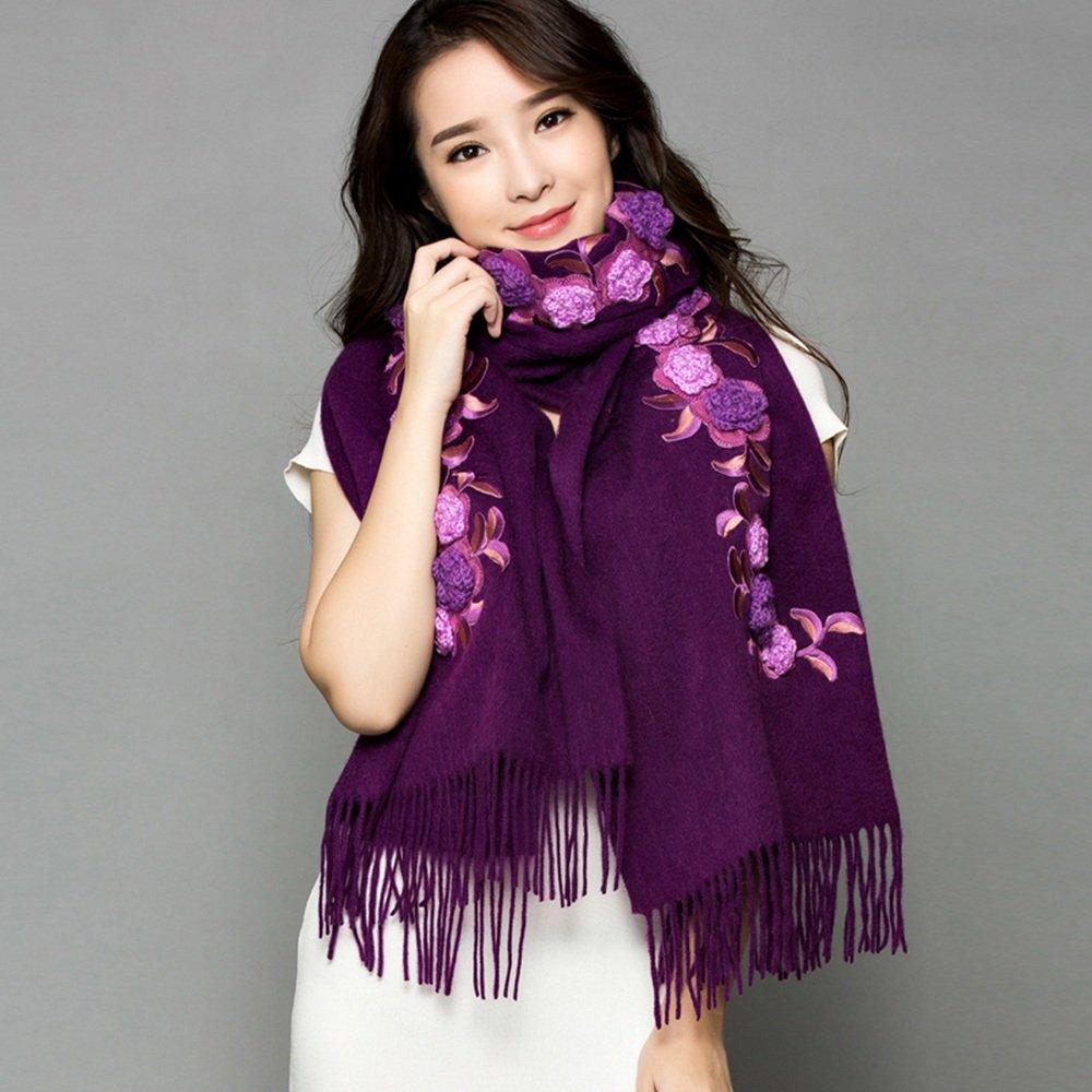 Bufanda HAIZHEN Elegante de moda chal de dos maneras gruesas flores de bordado cálido Sra. Sección l...