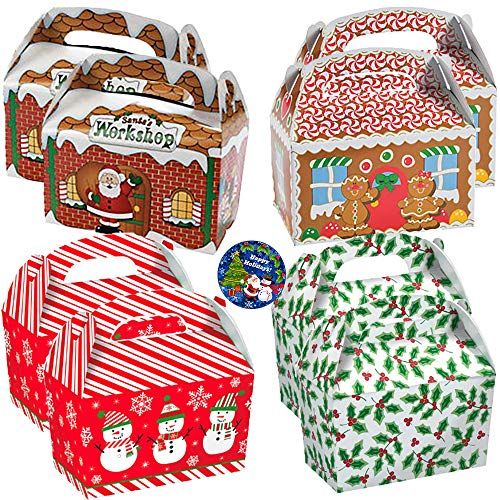 - 34 Piece Christmas and Holiday Large Treat Gable Boxes Party Pack With Santa Claus' Workshop, Gingerbread House, Festive Snowmen, and Holly Cardboard Treat Boxes With Holiday Pin!