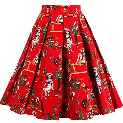 Red Couples Printed Vintage A-line Skater Skirts High Waist Midi Rockabilly Skirt Medium by Dannifore