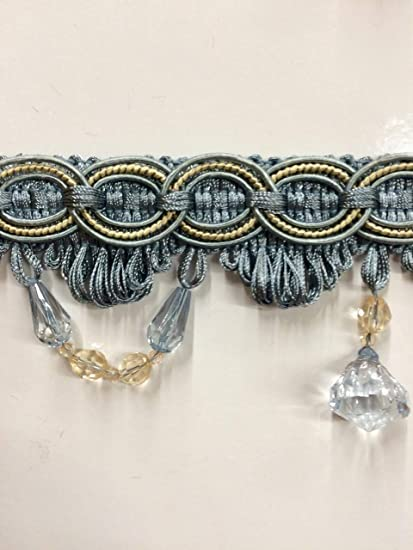 Sold by The Yard 3 Crystal Beaded Tassel Fringe Trim TF-28//41-3 French Blue /& Beige