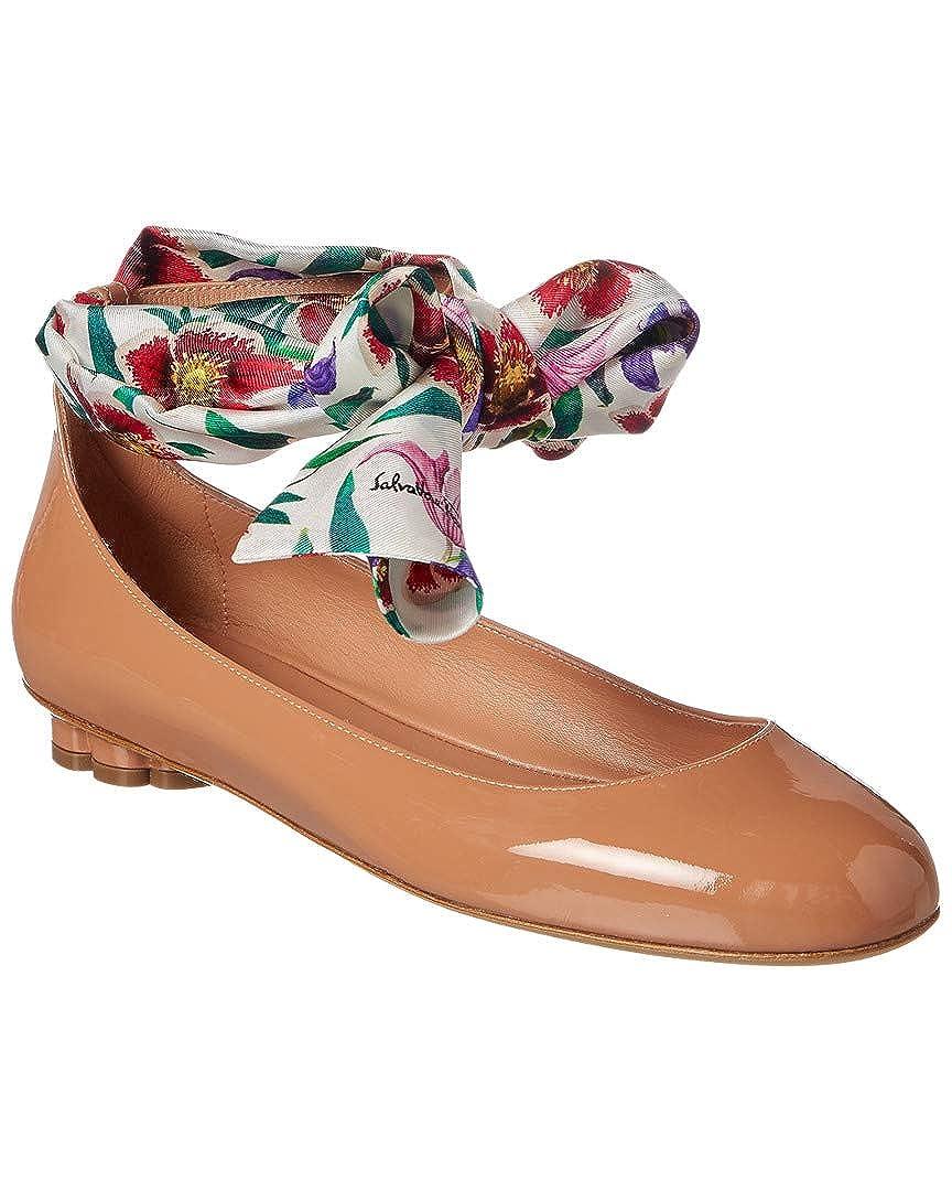 6040e9b919cf Amazon.com  Salvatore Ferragamo Foulard Ankle Strap Patent Ballet Flat