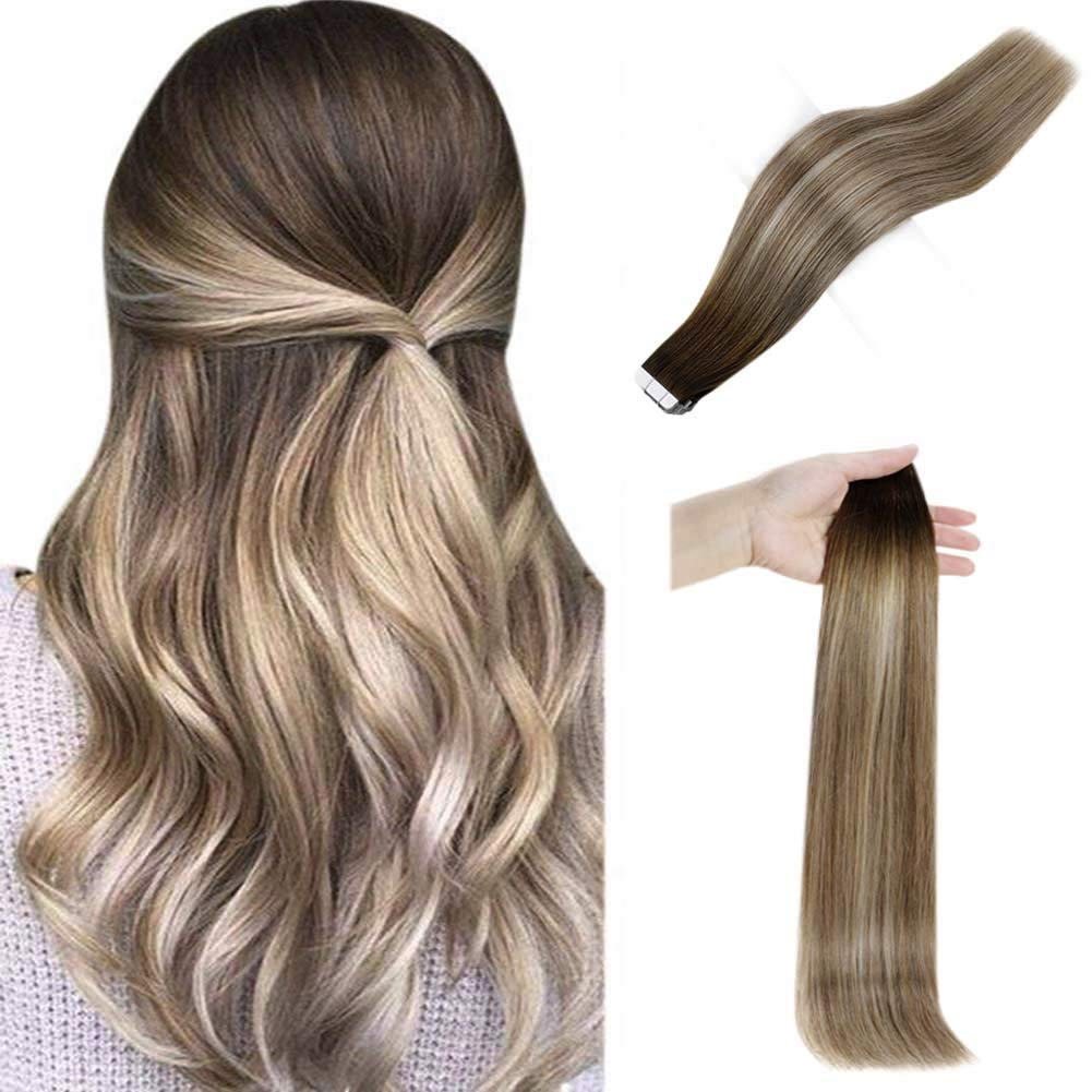 Human Hair Full Shine Tape In Hair Invisible Short Hair 12 Inch Color 3 Darker Brown Fading To 8 Highlight 22 Blonde 30 Grams Tape Ins For Women Straight Hair 20 Pcs