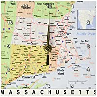 3dRose dc_184600_1 Print of Massachusetts Cities and State Map Desk Clock, 6 by 6-Inch