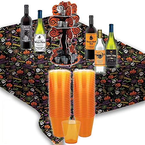 Halloween Shot Glasses Bundle Set 50-2.oz - Spooky Tree Display Case Shot Holder - Spooktacular Gang Reusable Table Cover 54