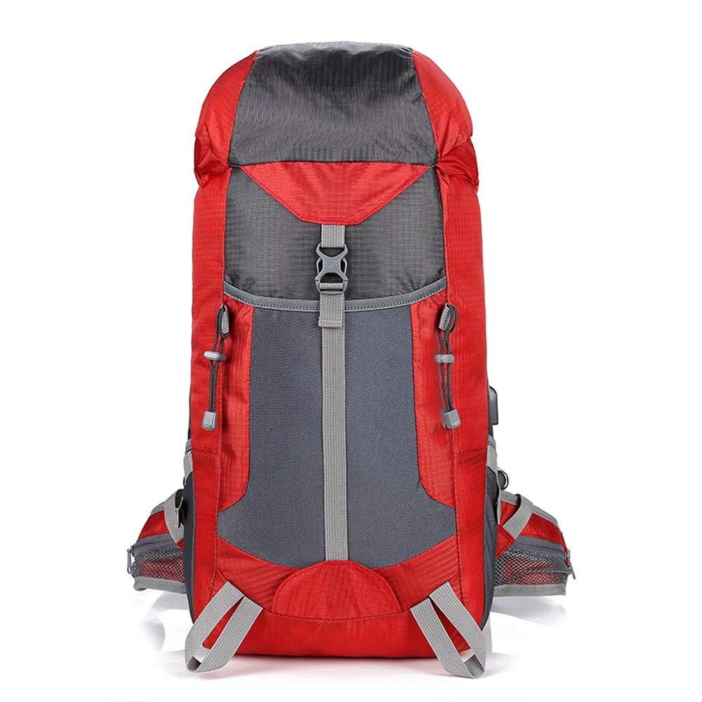 スポーツアウトドア多機能USBソケット充電登山バッグ大容量防水 キャンプ旅行バックパック (色 : 赤)  赤 B07RVHPN84