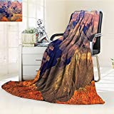 YOYI-HOME Weave Pattern Extra Long Duplex Printed Blanket House Decor Epic South West Canyon Before Sunrise National Landmark Wilderness Brown Custom Design Cozy Flannel Blanket /W39.5 x H59