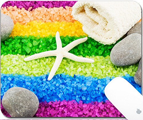 Price comparison product image Luxlady Gaming Mousepad 9.25in X 7.25in IMAGE: 40408969 Color sea salt rainbow with sea star stones and bath towel