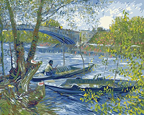 DIY PBN-paint by numbers famous painting Fishing in Spring by Van Gogh 16-by-20 inches Frameless. by ES Art