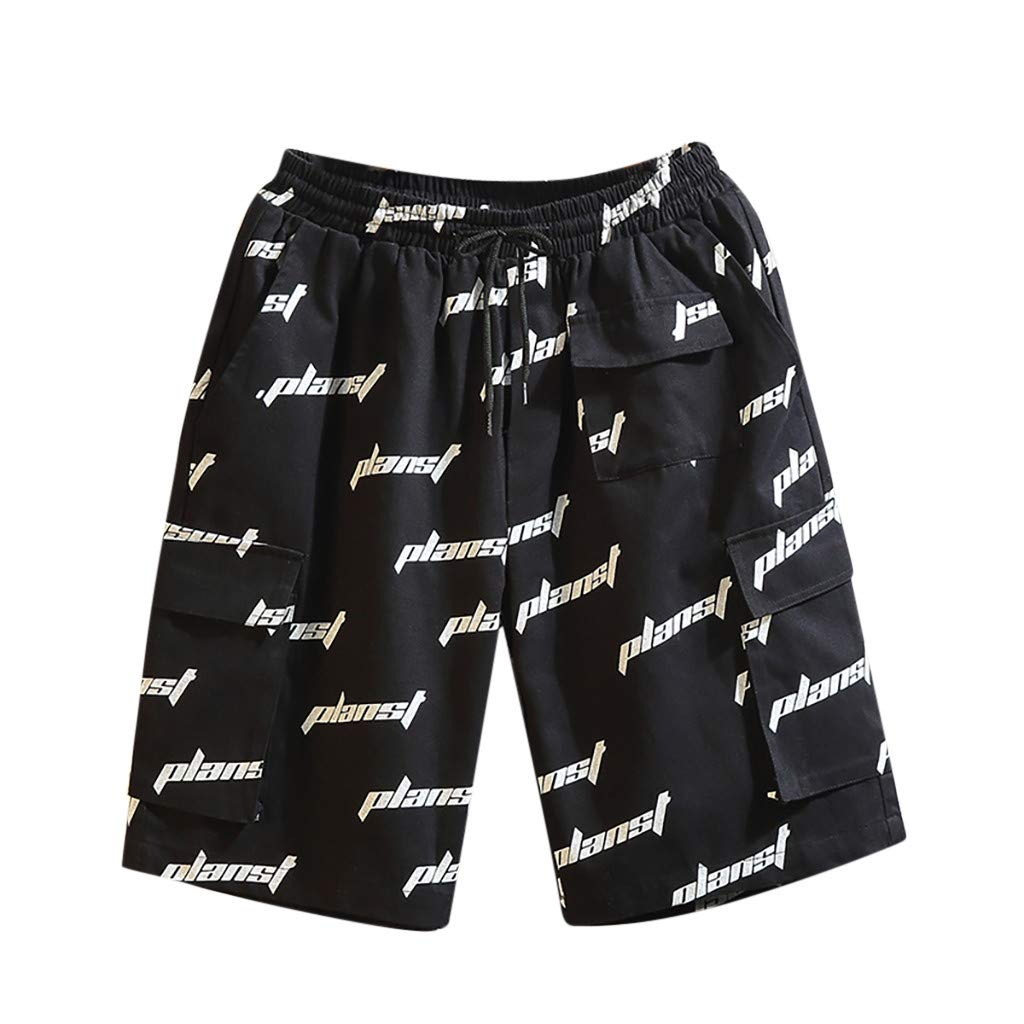 ANJUNIE Men's Printed Beach Trunks Swimming Trousers in Spring and Summer Surfing Shorts Loose Pant(Black,M)