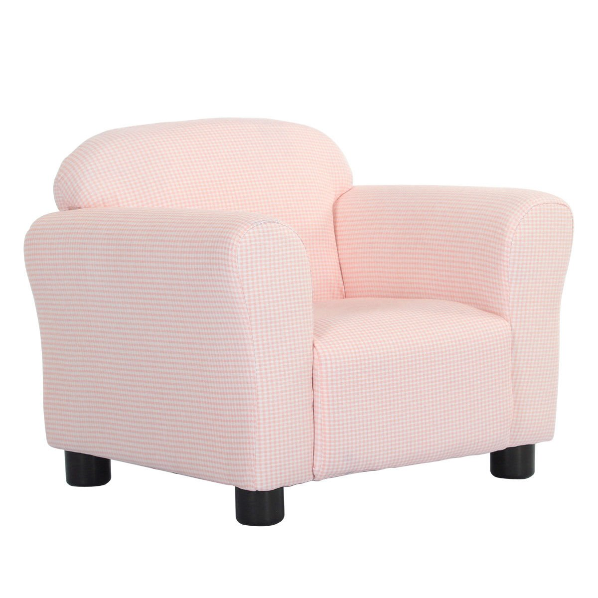 Costzon Kids Sofa, Toddler Gingham Roundy Armrest Chair Couch for Girls & Boys Bedroom Living Room, Children Furniture (Pink)