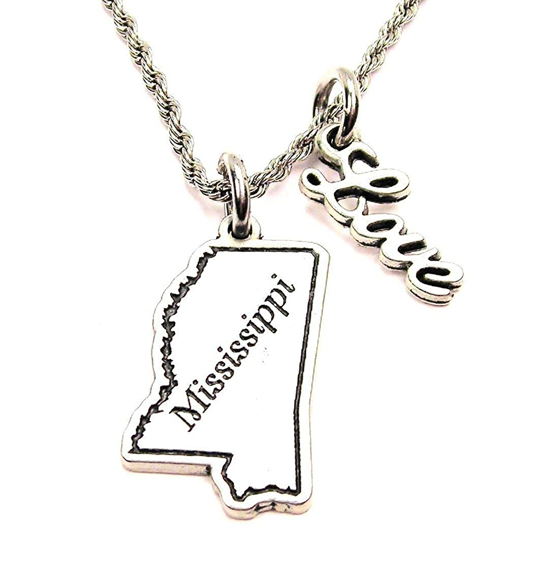 ChubbyChicoCharms Mississippi Stainless Steel Rope Chain Cursive Love Necklace
