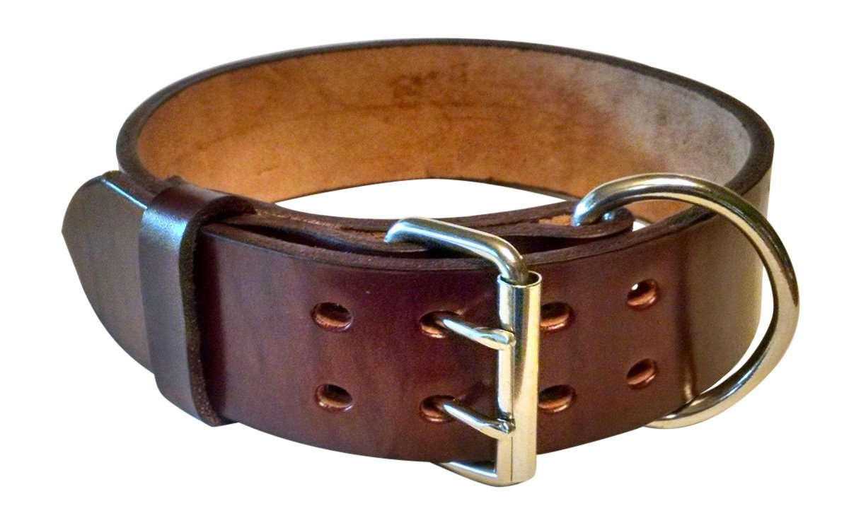 Pitbull & Large Breeds Leather Dog Collar - Free Personalization - Pet Training (Mahogany, 2'' Width Fits 20-23'' Neck)
