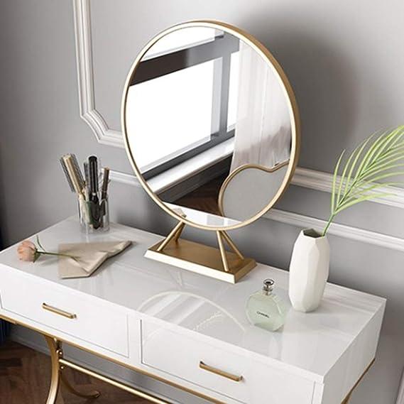 Size : A JKAD Espejo De Maquillaje Redondo Metal Espejo De Mesa Dorado Espejo De Vanidad Espejo De Maquillaje De Mesa