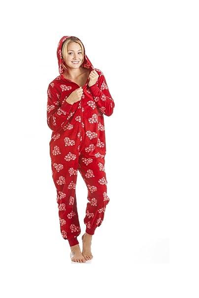 Camille Pijama de una pieza Forro polar Estampado corazones y copos Rojo 46/48: Amazon.es: Ropa y accesorios
