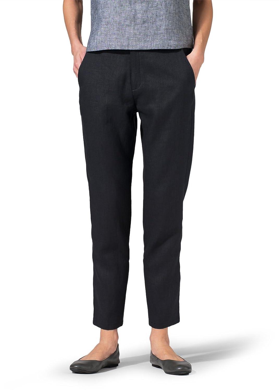 Vivid Linen Slim Ankle Pants