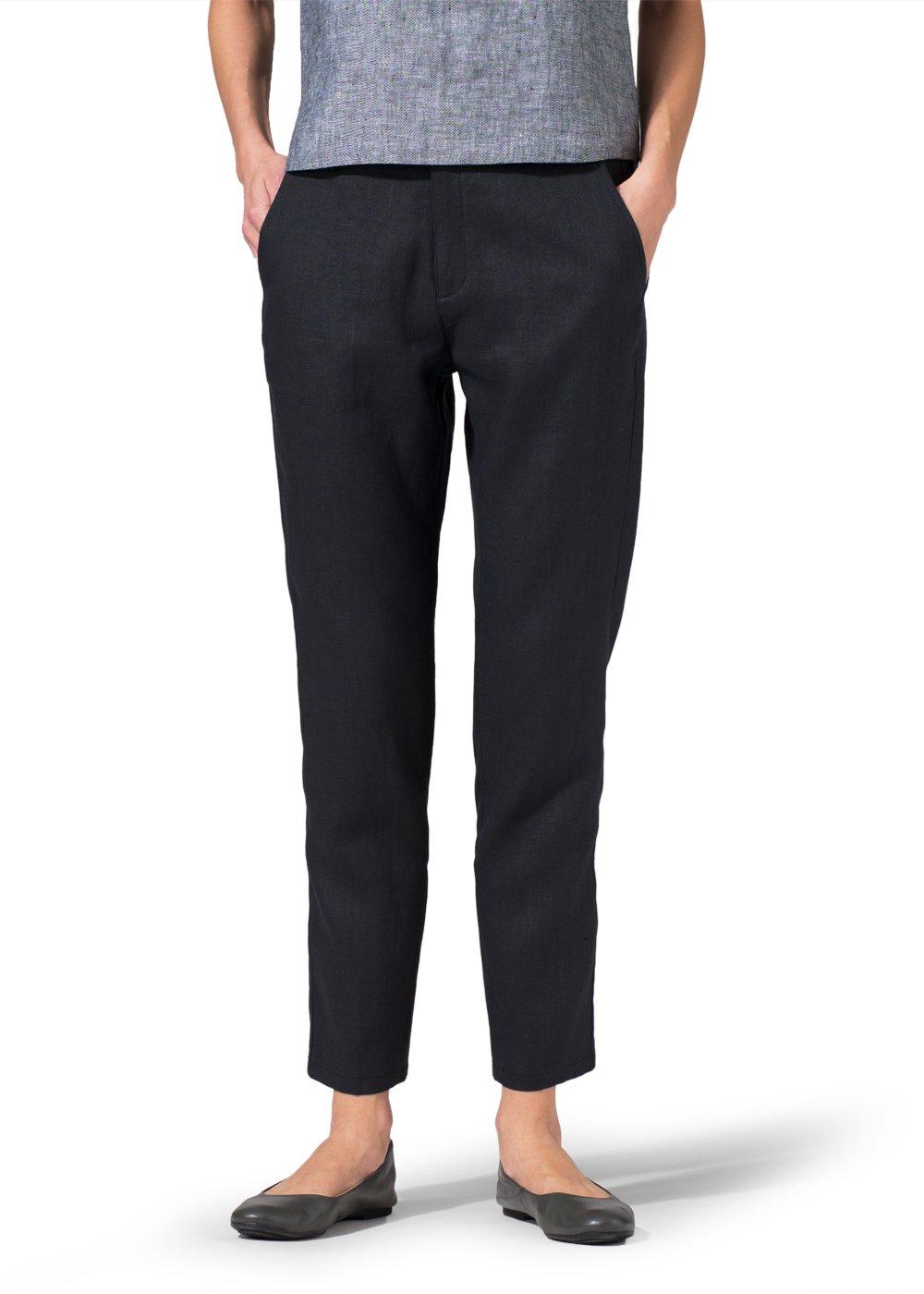 Vivid Linen Slim Ankle Pants-S-Black