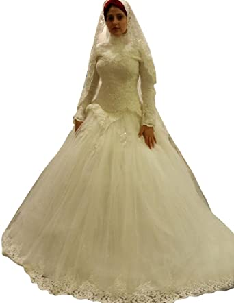 JoyVany Long Sleeves Muslim Wedding Dress Ghana Dresses Lace Bride Ivory Size 2
