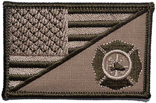 USA Flag/Firefighter Maltese Cross 2.25x3.5 Morale Patch - Coyote Brown -