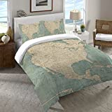 Laural Home Map of North America Duvet Cover Twin