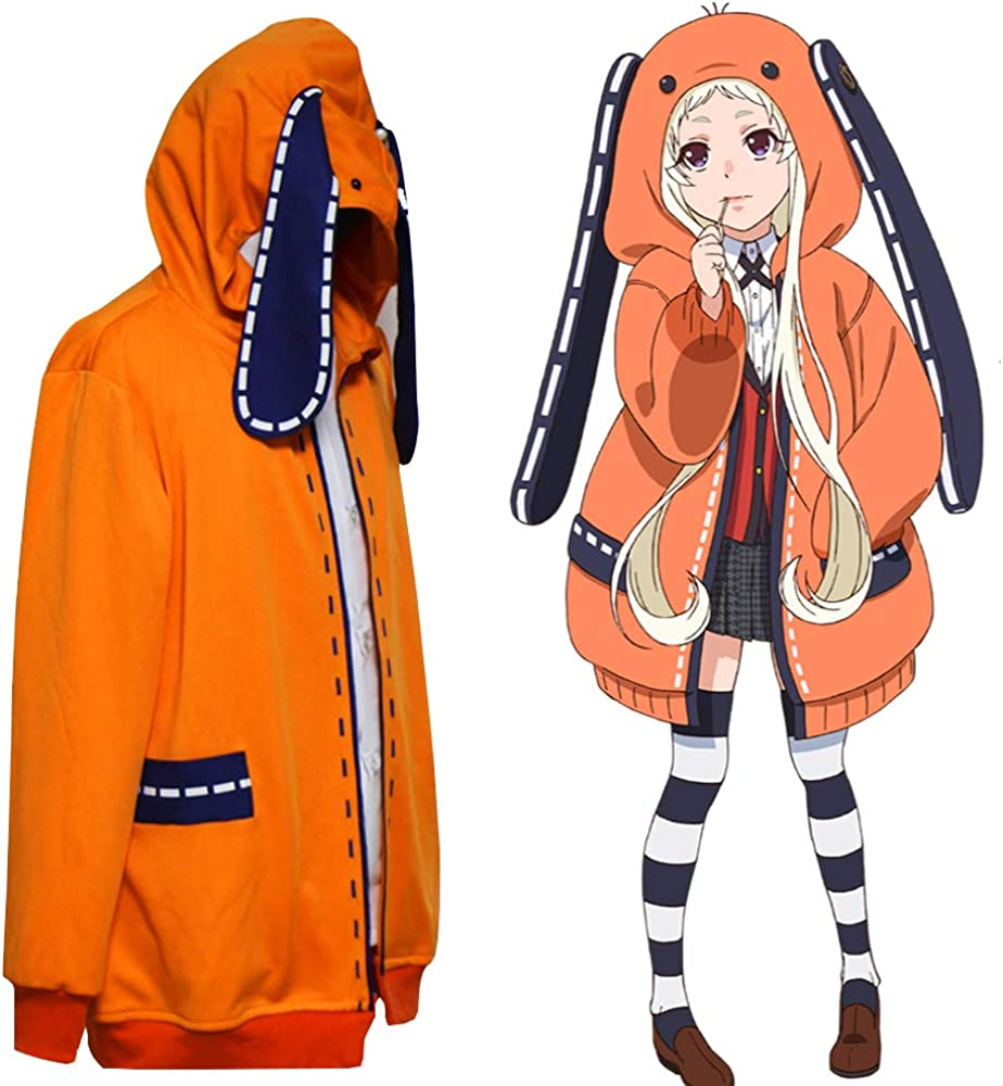 Yomoduki Runa Costume Coat Anime Kakegurui Twin Cosplay Uniform Cute Rabbit  Orange Hoodie Jacket