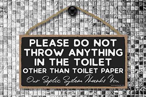 Amazon.com: Por favor no tire nada en el inodoro, 5 x 10 ...