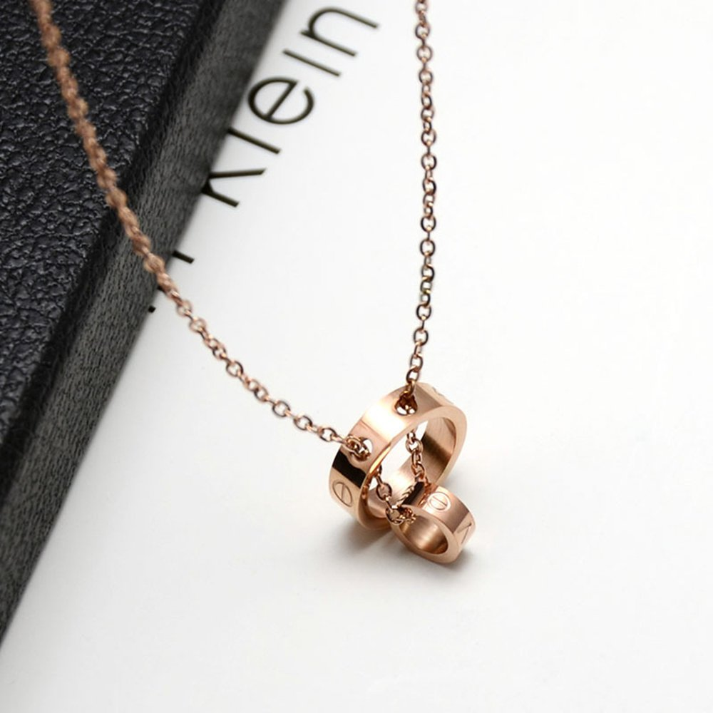 Fire Ants Love Necklaces - Women's Lucky Fashion Eternal Double Ring Necklace (Rose Gold-A) by Fire Ants (Image #4)
