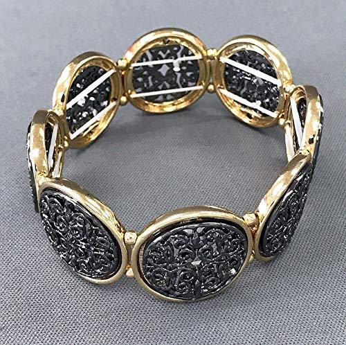 Gold Hematite Finished Filigree Design Circle Shape Stretchable Bangle Bracelet -
