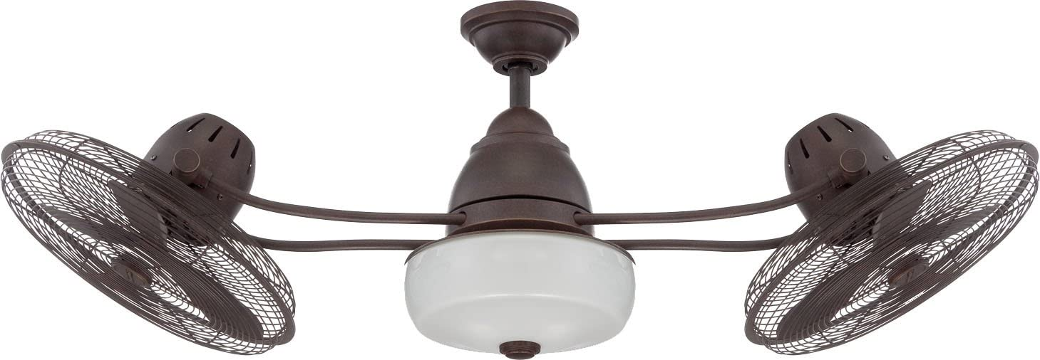 Craftmade Outdoor Dual Motor Ceiling Fan with Light BW248AG6 Bellows II 48 Inch Patio Cage Fan with Remote, Bronze