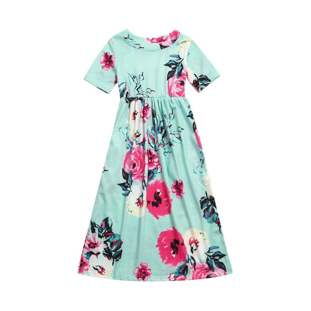 6d675bfabfe Amazon.com: iumei 2 3 4 5 6 8 10 yrs Baby Kids Maxi Dress Short Sleeve  Floral Beach Dresses Long Skirts: Clothing