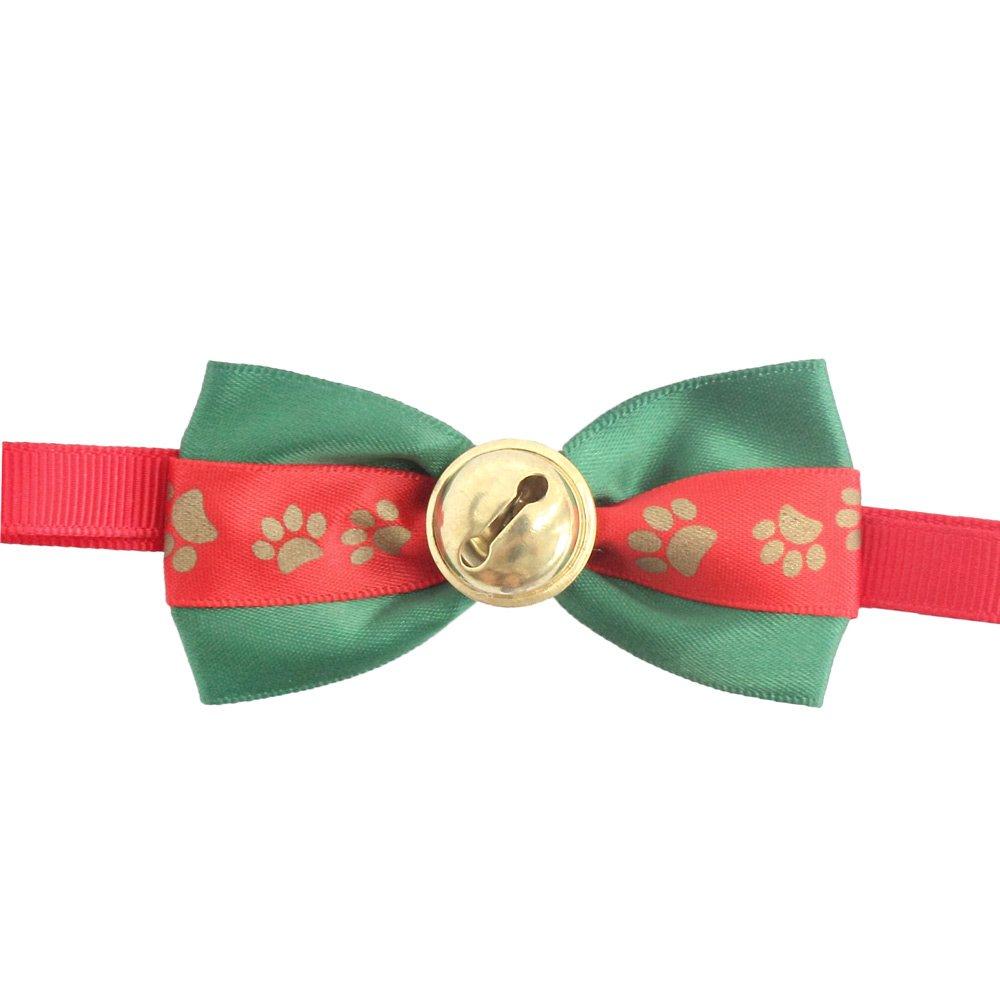50PCs Dog Charm Collar Handmade Bow Tie Christams Bell Merry Christmas Dress up Small Medium Dog