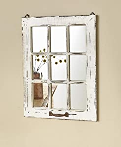 The Lakeside Collection Distressed Wood Windowpane Mirror - Rustic Home Decoration - White