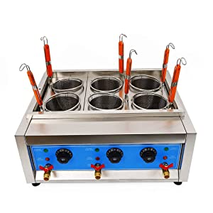 4 Holes/6 Holes Electric Pasta Cooking Machine Commercial Pasta Cooker Noodles Cooker 110V Table Top Noodles Cooker Machine with Noodle Filter (6 Holes)