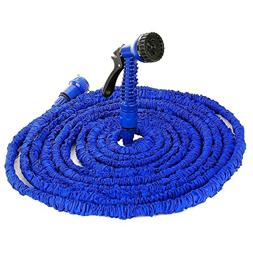 100FT / 150FT / 200FT Magic Hose Stretch Flexible Expandable 3x Expanding Garden Hose Pipe Natural Triple Layer Light Weight Non Kink & 7 Setting Water Spray Nozzle (150 FT)
