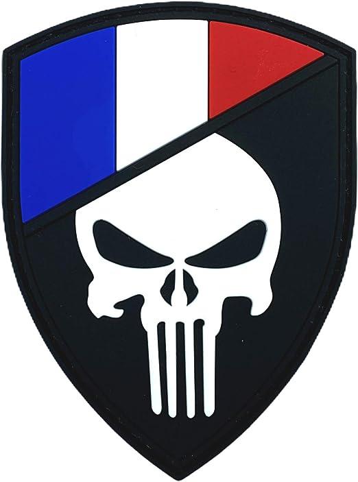 France Fran/çais Drapeau Punisher Brillent dans Le Noir Cosplay Airsoft PVC Patch