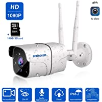 Cámara 1080P Vigilancia IP Cámara WIFI,SZSINOCAM cámara ip Smart Home Cámara con visión nocturna,móvil alarma empuje,Auto giratorio, 2 Vías de audio, Hogar/Baby Monitor,iOS/Android/PC,Cloud