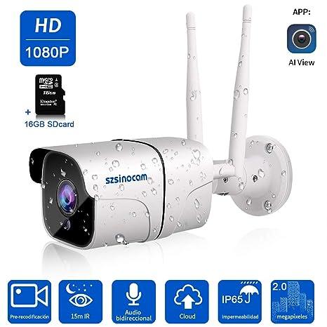 Cámara 1080P Vigilancia IP Cámara WIFI,SZSINOCAM cámara ip Smart Home Cámara con visión nocturna,móvil alarma empuje,Auto giratorio, 2 Vías de audio, ...