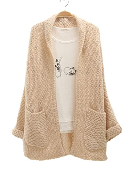 Menglihua Womens Cable Chunky Knit Pocket Open Front Grandad ...