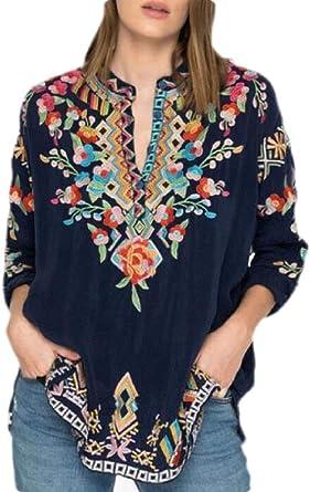 dahuo Blusa Bohemia Mexicana Bohemia Bordada Floral para Mujer 1 XS: Amazon.es: Ropa y accesorios