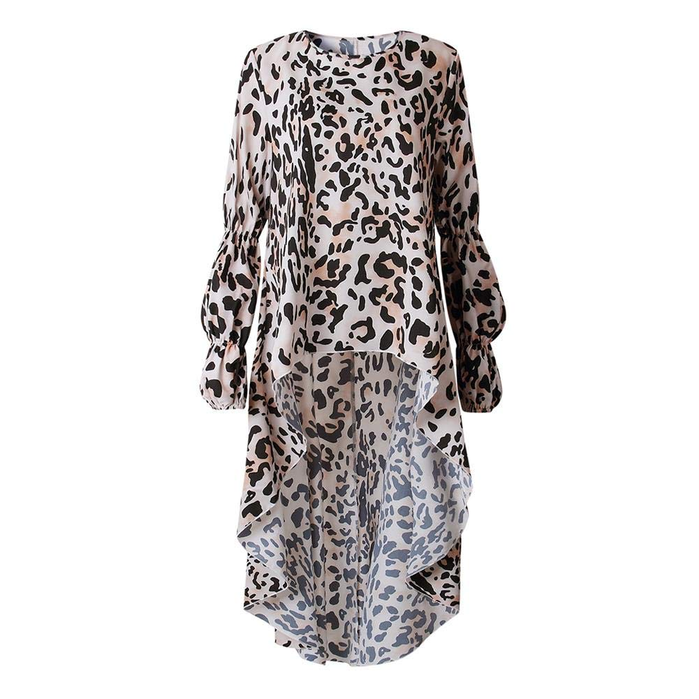 d4b14b1efa75 Amazon.com  AFfeco Women Elegant Leopard Print Ruffle Sleeves Irregular Hem  Shirt Dress (Khaki L)  Beauty