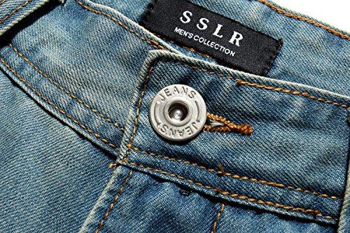 Regular SSLR Jeans para Denim Ligero Azul Hombre Hipster Ajustado xOCf7