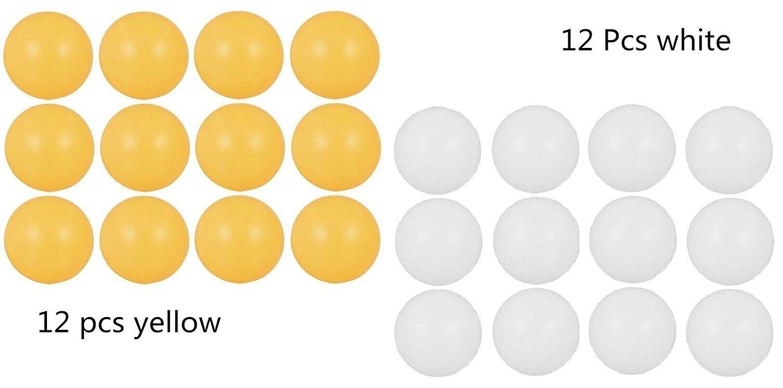 Tischtennisbä lle, 24 Stü ck, 4 cm, Kunststoff-Tischtennis-Ping-Pong-Bä lle (12 Bä lle gelb + 12 weiß ) Beauty DIY Mart