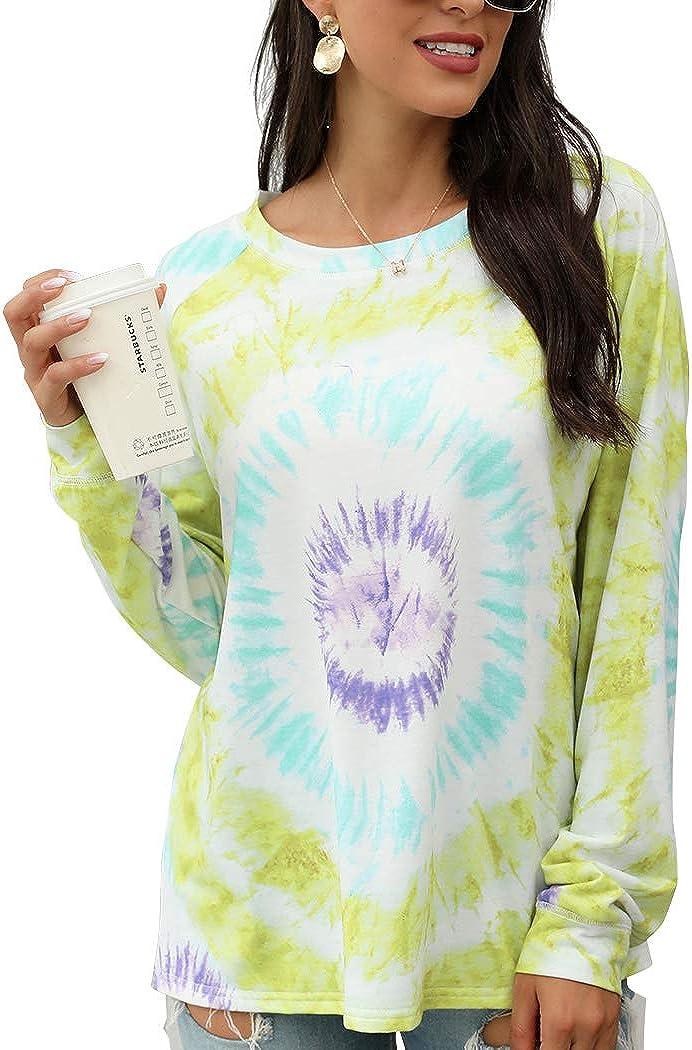 Womens Tie Dye Printed Sweatshirts Long Sleeve Pullovers Casual Tshirts Tops