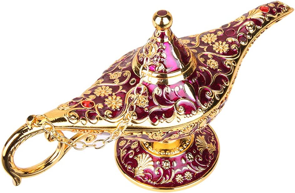 Vintage Aladdin Magic Genie Lamp Light for Home Party Wedding Table Decoration & Gift,Classic Zinc Alloy Arabian Lamp Jewelry Box(Gold & Purple)