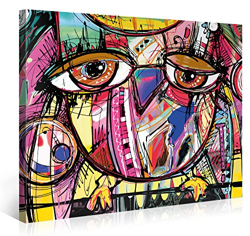 Large Canvas Print Wall Art – OWL DOODLE – 40x30 Inch Abstract Canvas Picture Stretched On A Wooden Frame – Giclee Canvas Printing – Hanging Wall Deco Picture / (Abstract Art Gallery)