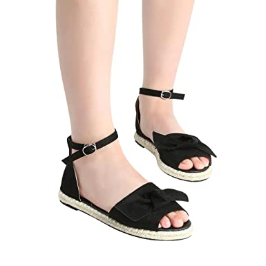 3ea4e2d342 Women Summer Sandals, HEHEM Women Fashion Leisure Ladies Flat Lace up  Espadrilles Summer Chunky Holiday Sandals Shoes Size (EU:34, Black 3):  Amazon.co.uk: ...