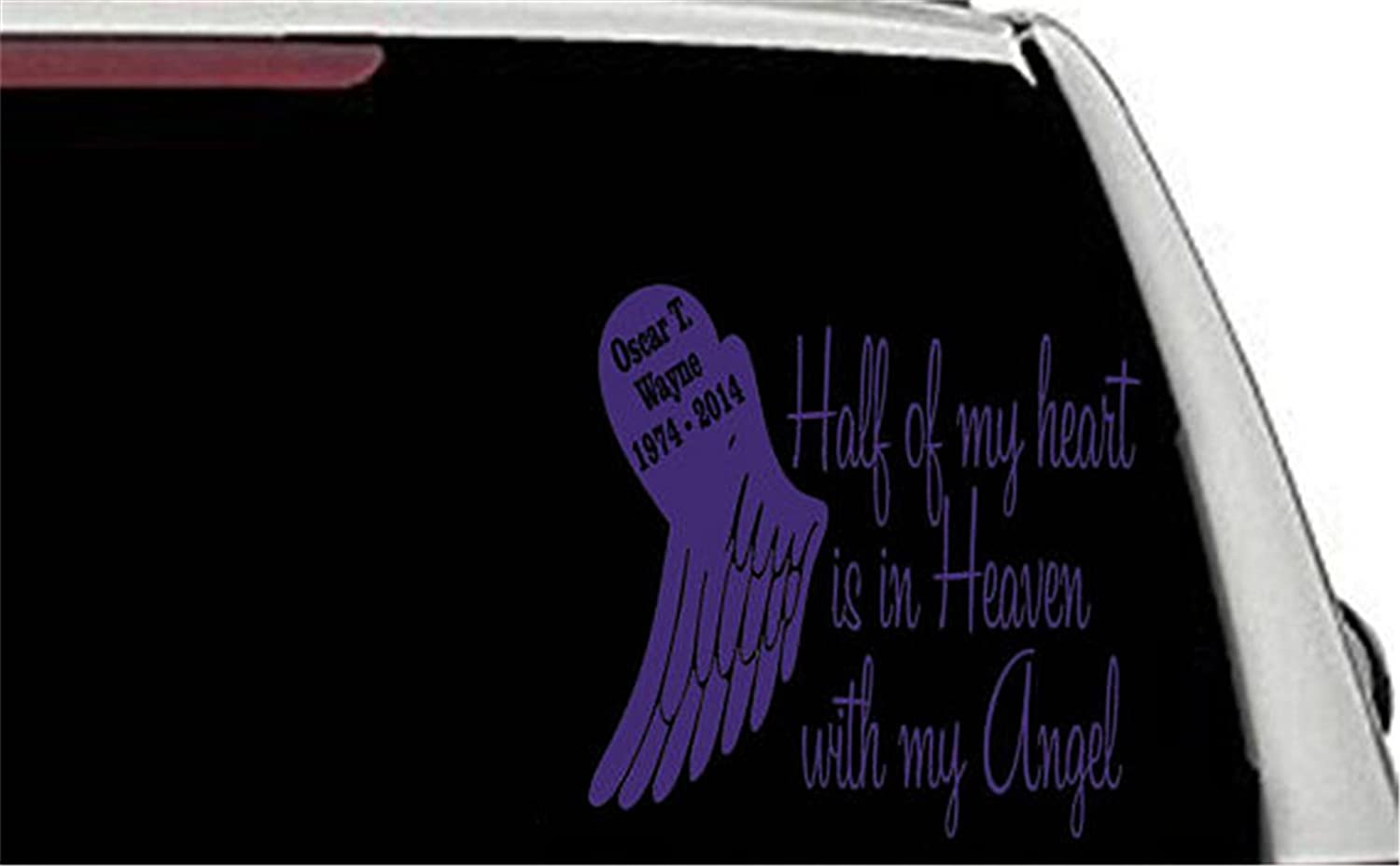 Half my heart my guardian angel memorial car decal in loving memory of custom remembering car window decal mem107 inspirational wall decal church