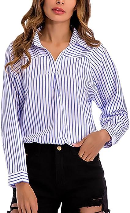 Camisas Mujer Rayas Elegante Primavera Otoño Manga Larga V Cuello Moda Camisa Tops Anchas Casual Business Oficina Woman Blusa: Amazon.es: Ropa y accesorios