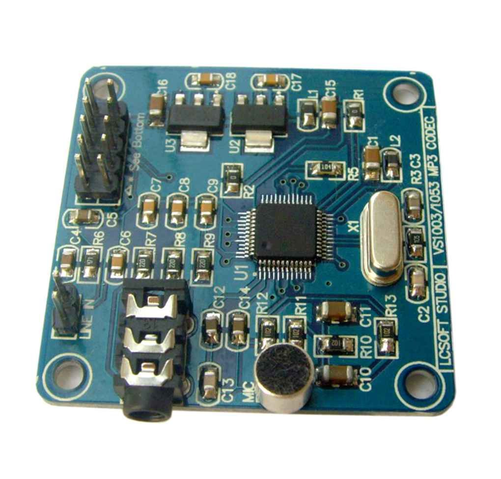Kongnijiwa Modul Serie VS1053 MP3 12.228Mhz Quarzoszillator Audio-Decodierungsmodul mit Aufnahmefunktion Demoboard Vorstand